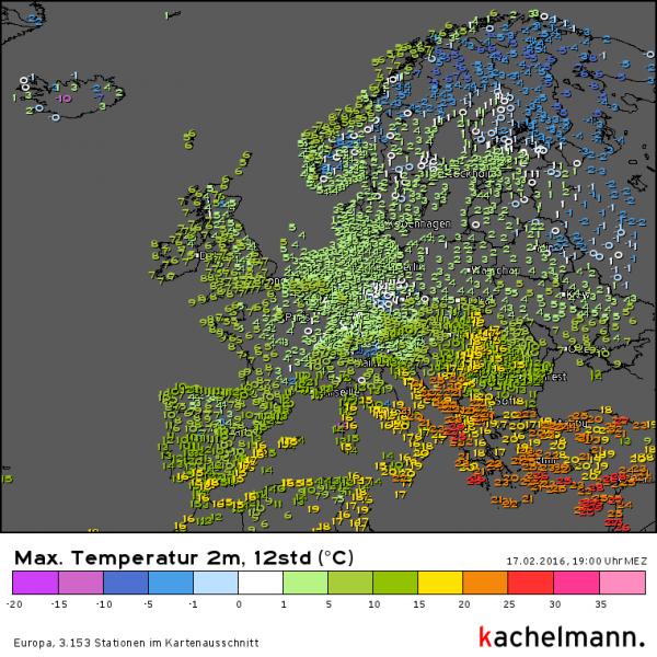 De afzonderlijke getallen zijn niet goed zichtbaar, maar aan de kleuren kan et mooi zien dat het in het zuidoosten van Europa aan de warme kant was. Bron: Kachelmannwetter.com