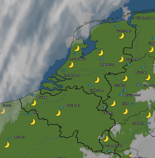 radar- en satellietbeeld van vanochtend 6:45 uur. Bron: WetterOnline.de