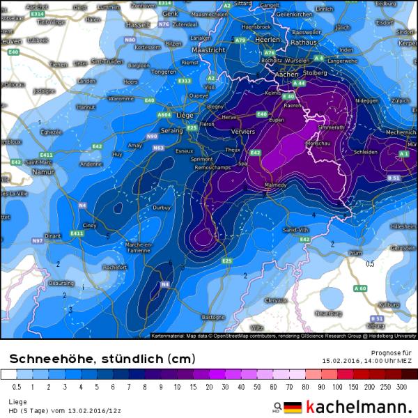 Er wordt flink wat sneeuw verwacht in de Ardennen en Hoge Venen. Morgenmiddag ligt er lokaal meer dan 15 centimeter. Bron: Kachelmannwetter.com