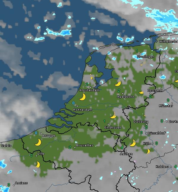 radar- en satellietbeeld van vanochtend 7:20 uur. Bron: WetterOnline.de