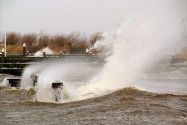 Ook Ton Wesselius maakte een fraaie stormfoto aan de oevers van het Braassemermeer.