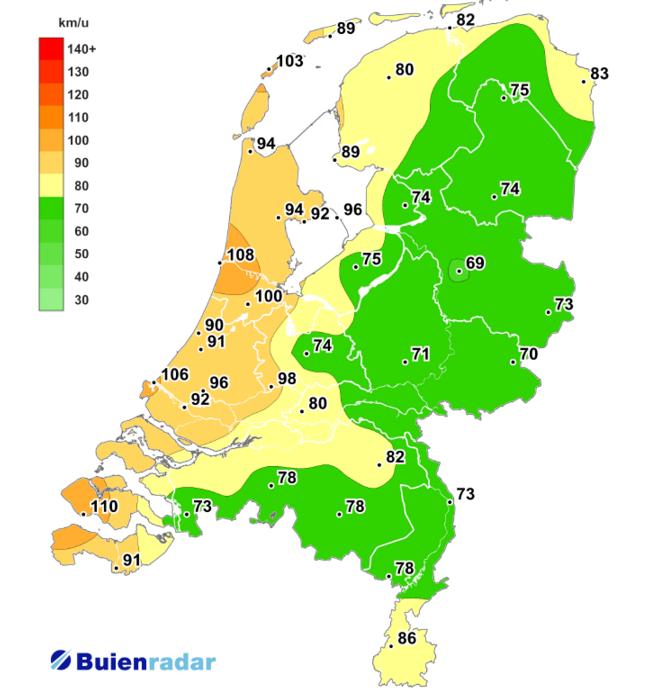 Er kwamen zware tot zeer zware windstoten voor in met name de kustprovincies, maar ook over land waaide het flink. Bron: buienradar.nl
