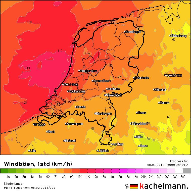 Vanavond neemt de zuidwester weer in kracht toe en aan zee zijn opnieuw zeer zware windstoten mogelijk tot 110 km/uur. Bron: Duitse HD model via Kachelmannwetter.com