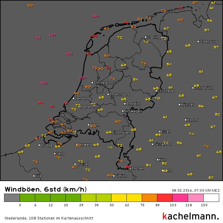 Er kwamen weer (zeer) zware windstoten voor. Bron: Kachelmannwetter.com