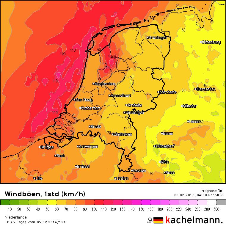 In de nacht naar maandag is de wind duidelijk aanwezig met kans op zeer zware windstoten tot 110 km/uur.