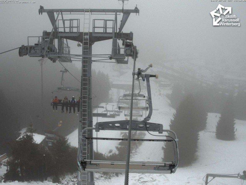 Webcambeeld van vanmiddag. Er ligt verse sneeuw maar de temperaturen liggen overal alweer boven het vriespunt. Bron: Skiliftkarussell.