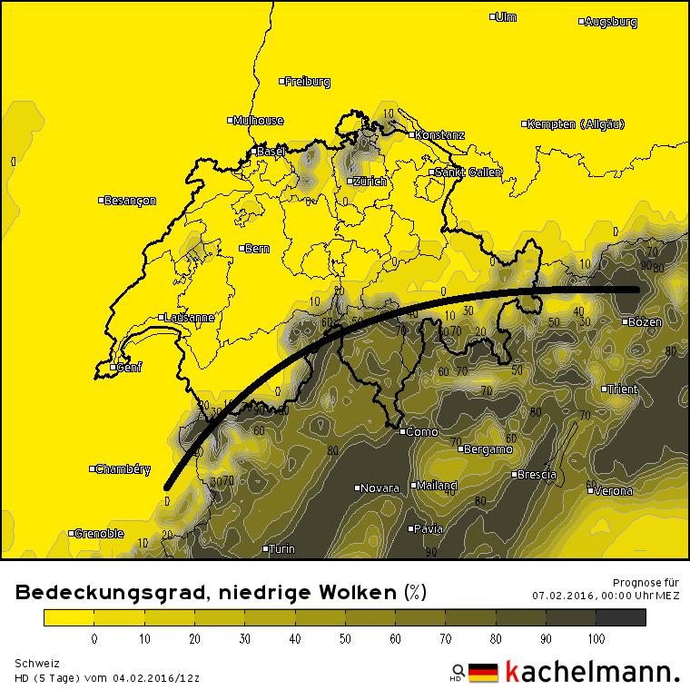 Bewolkingsverwachting voor de nacht van zaterdag op zondag volgens het Duitse hoogresolutiemodel.