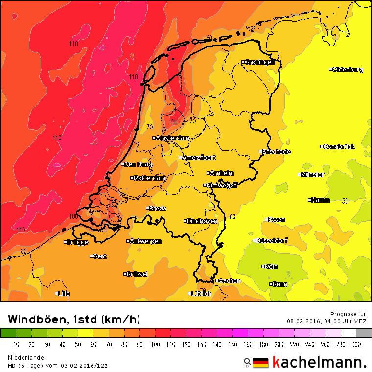 In de nacht van zondag op maandag waait het flink met kans op zware tot zeer zware windstoten tot meer dan 100 km/uur.