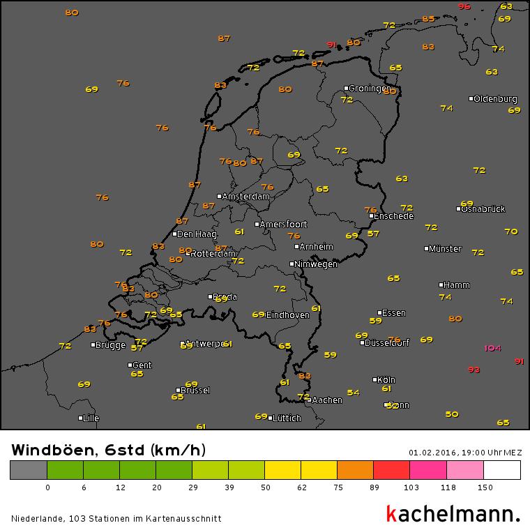 Er kwamen gisteren overal in het land (zware) windstoten voor. Bron: Kachelmannwetter.com