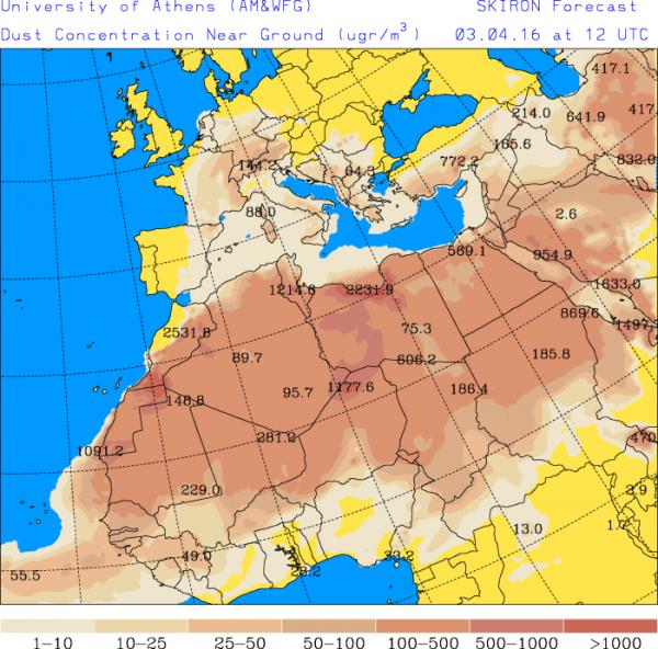 Met de zuidelijke stroming wordt er ook saharazand aangevoerd. Bron: Skiron forecast.