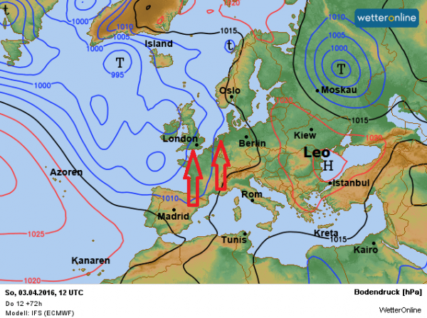 weerkaart voor zondag. Met een zuidelijke stroming wordt zachte lucht aangevoerd.