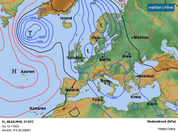 Lagedruk wordt later deze week weersbepalend. De temperatuur gaat flink naar beneden en er valt periodiek regen. Bron: ECMWF