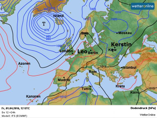 de weerkaart volgens ECMWF van vandaag.