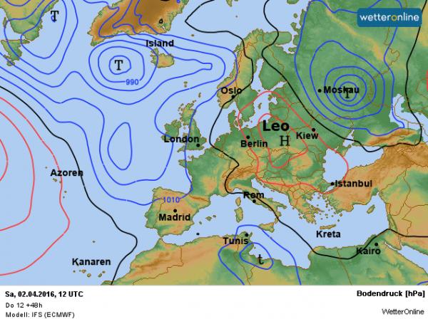 de weerkaart voor morgen volgens ECMWF. Het hoog Leo ligt ten oosten van onze streken en zorgt voor een zuidoostelijke stroming met aanvoer van zachte lucht.