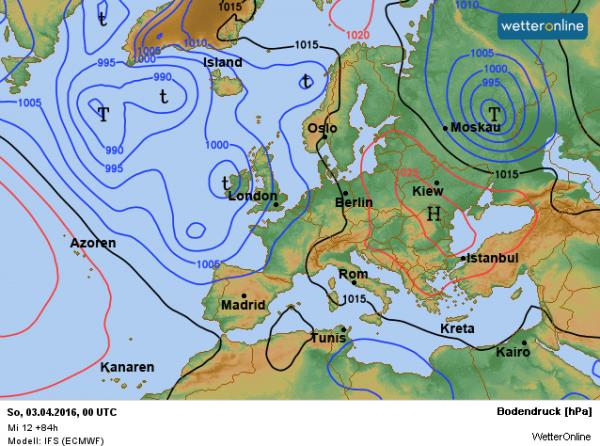 weerkaart voor zondag 3 april volgens ECMWF