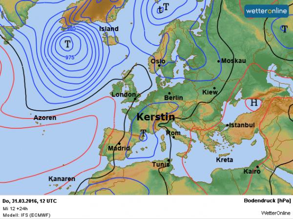weerkaart voor vandaag volgens ECMWF