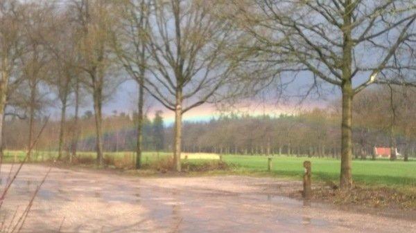 Gerda Jakobs was gisteren op landgoed Singraven en zag deze zeer fraaie (lage) regenboog na een wegtrekkende bui.