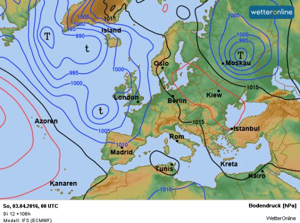 weerkaart voor het weekend volgens ECMWF. Met een zuidelijke stroming wordt zachte lucht aangevoerd.