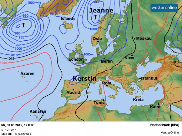 weerkaart vandaag volgens ECMWF.
