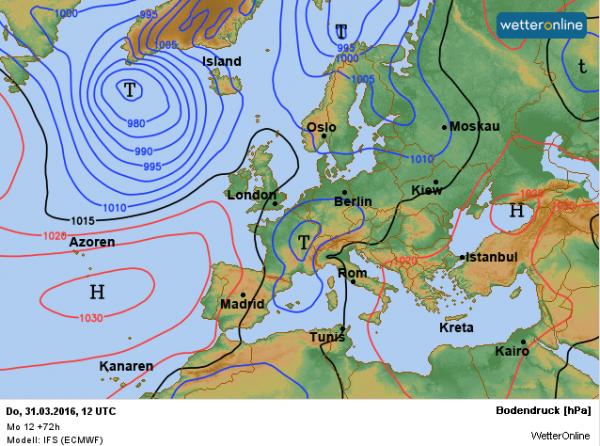 weerkaart voor donderdag 3 maart volgens ECMWF. Een lagedrukgebied boven Frankrijk zorgt voor de zuidelijke helft en Vlaanderen voor regen.