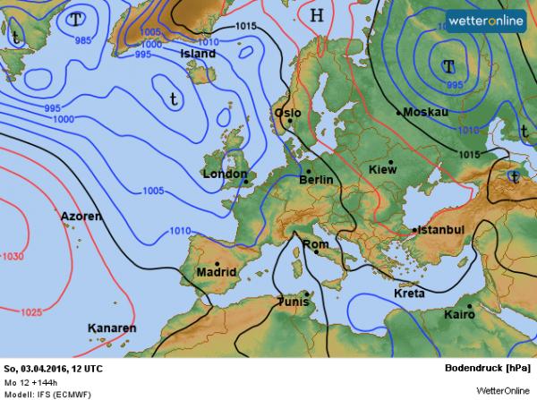 de weerkaart voor zondag volgens ECMWF. Lagedruk is alweer bepalend voor ons weer.