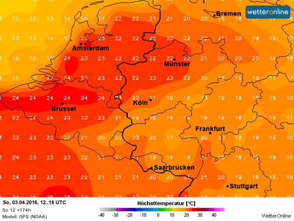 De Amerikanen verwachten voor zondag temperaturen boven de 20°...