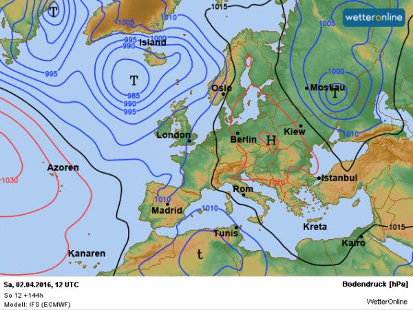 de weerkaart voor zaterdag volgens ECMWF.