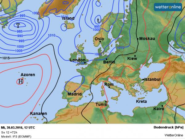 de weerkaart voor woensdag volgens ECMWF.