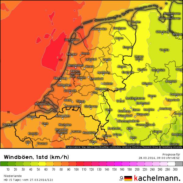 Er worden flinke windstoten verwacht vandaag met aan zee kans op stoten van 100 km/uur. Bron: Kachelmannwetter.com
