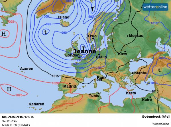 De weerkaart voor vandaag volgens ECMWF. Depressie Jeanne is bepalend voor ons Paasweer.
