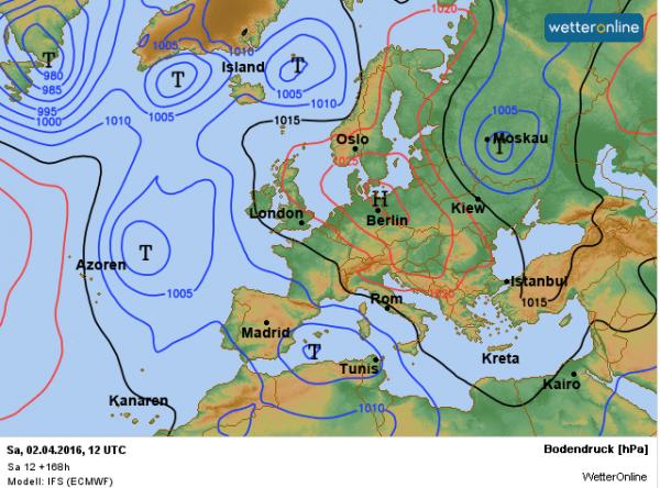 Het ECMWF verwacht komend weekend een hoog ten oosten van onze streken en met een zuidoostelijke stroming wordt dan zachte lucht aangevoerd.