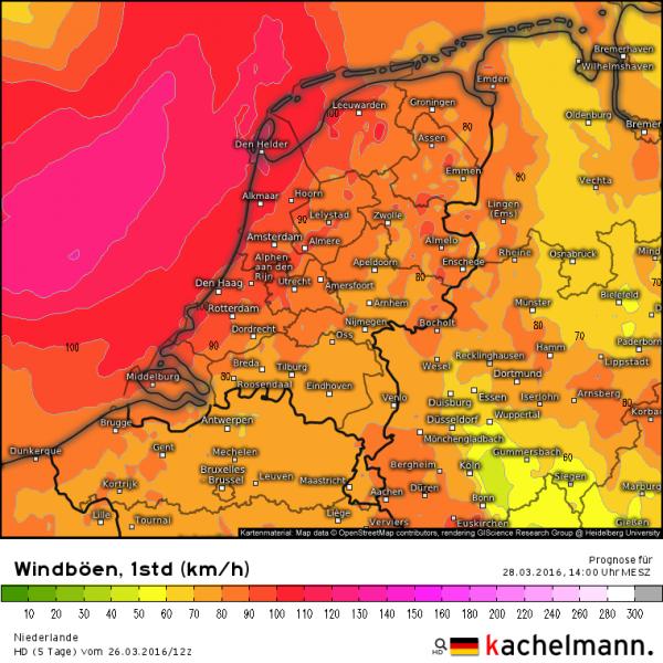 Morgen wordt een onstuimige dag met kans op (zeer) zware windstoten tot meer dan 100 km/uur. Bron: Kachelmannwetter.com