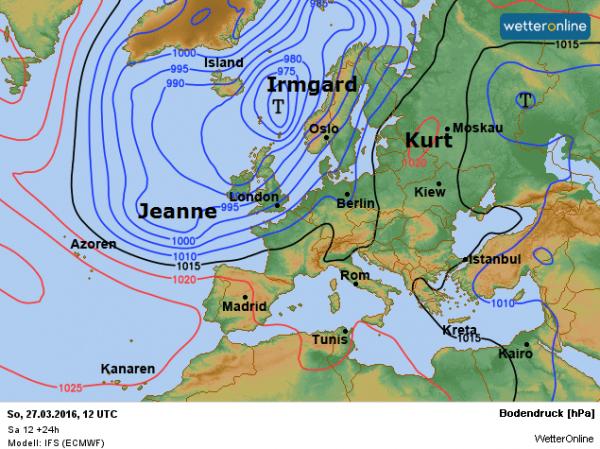 de weerkaart voor vandaag volgens ECMWF.