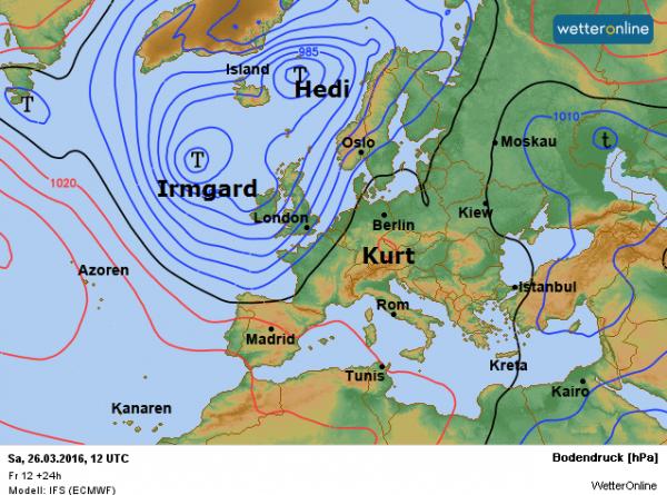 de weerkaart voor vandaag volgens ECMWF. We profiteren van het hoog Kurt, maar Irmgard bezorgt ons een natte en onstuimige Pasen.