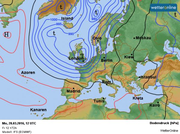 De weerkaart voor Paasmaandag volgens ECMWF. Depressie Irmgard zorgt voor een onstuimige dag.