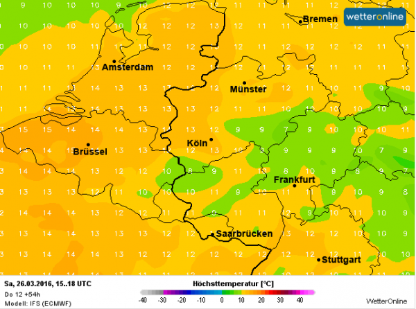 De maxima liggen morgen tussen de 12 en lokaal 15°. Bron: ECMWF.