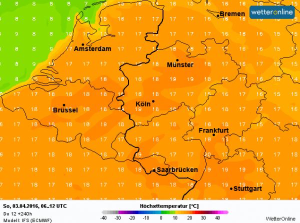 volgende week zondag, 3 april, verwacht het ECMWF temperturen tussen de 16 en 18°.