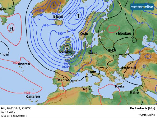 de weerkaart voor 2e Paasdag. Een diepe depressie zorgt voor een natte en winderige dag. Bron: ECMWF.