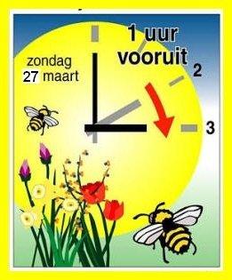 In de nacht naar zondag gaat de zomertijd weer in. Om 2:00 uur gaat de klok een uur naar VOREN!