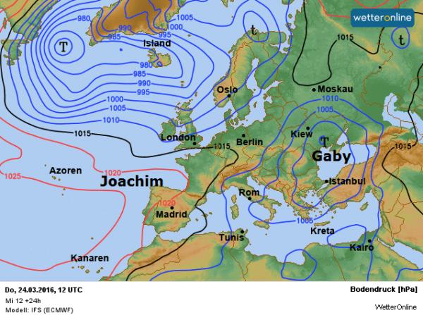 De weerkaart van vandaag volgens ECMWF.