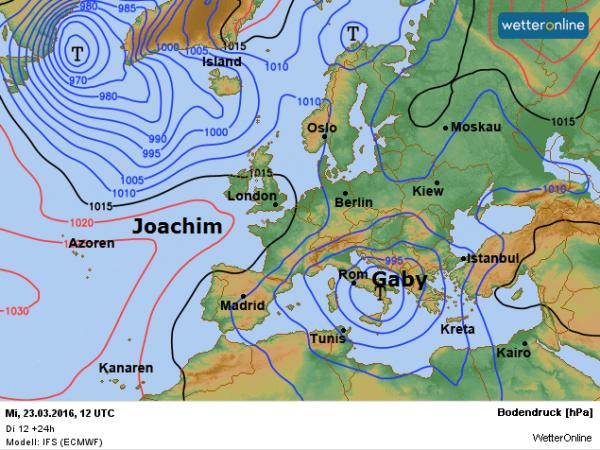 De weerkaart voor deze woensdag volgens ECMWF.