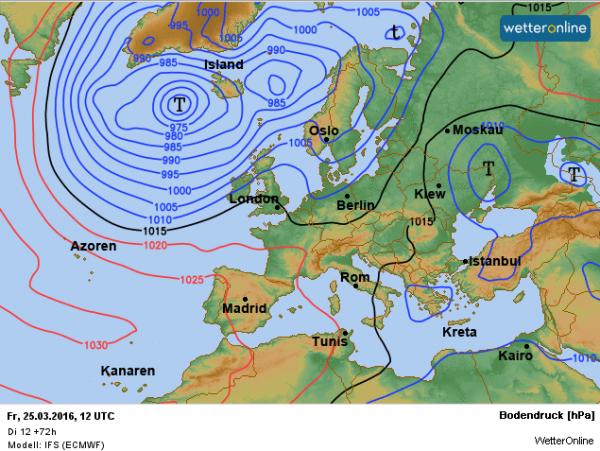 De weerkaart voor Goede Vrijdag. Depressies worden bepalend voor ons weer. Bron: ECMWF.
