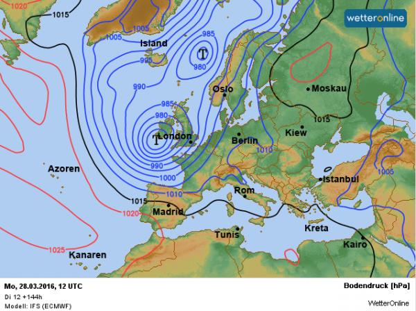 weerkaart voor tweede Paasdag 28 maart. Bron: ECMWF.