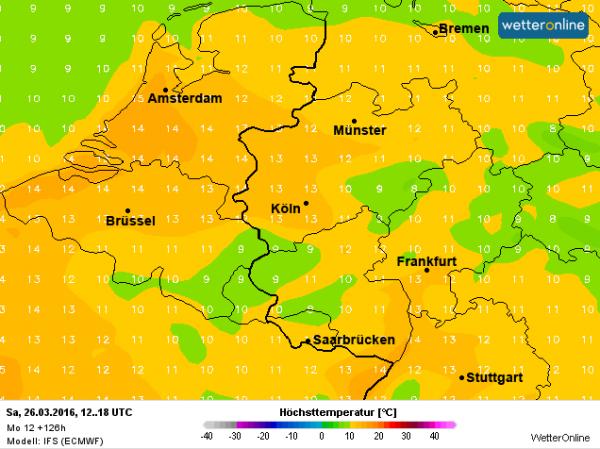 Met een zuidelijke stroming wordt zaterdag aan de voorzijde van een naderend front zachte lucht aangevoerd waarin de temperatuur kan oplopen naar waarden omstreeks de 14°. Bron: ECMWF.