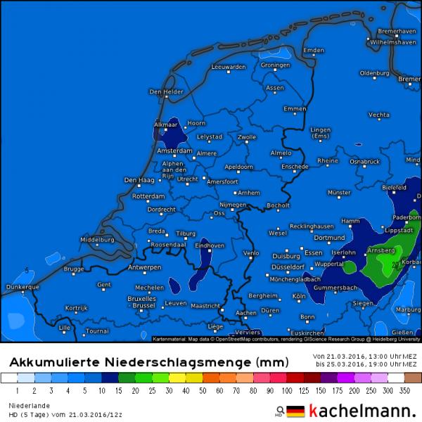 tot en met vrijdagavond valt er tussen de 5 en 10, lokaal iets meer regenwater in de diverse regenmeters. Bron: HD model via Kachelmannwetter.com