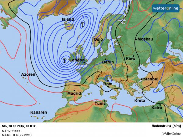 De weerkaart voor Paasmaandag. Een depressie zorgt voor een zuidwestelijke stroming en voor periodiek nattigheid. Bron: ECMWF.