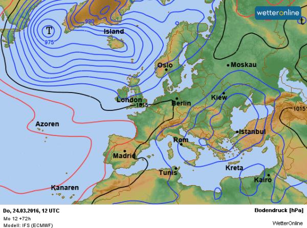 De weerkaart voor donderdag volgens ECMWF. Storingen gaan zich met ons weer geleidelijk bemoeien.