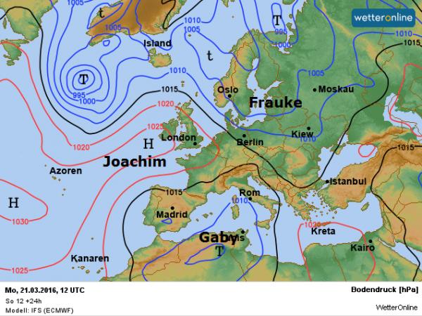De weerkaart voor vandaag volgens ECMWF. Aan de noordoostflank van het hoog Joachim wordt met een noordwestelijke stroming maritiem polaire lucht aangevoerd.