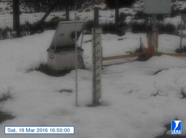 De sneeuwlaag wordt met de dag minder. Op de Mont-Rigi (670 m) lag gisteren nog een centimeter of 3. Bron: RMI.