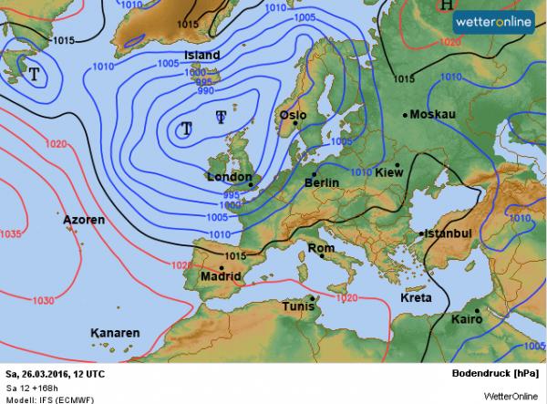 De weerkaart volgens ECMWF voor volgende week zaterdag. Een IJslanddepressie zorgt voor een wisselvallig weertype, maar wel met een zuidwestelijke stroming.
